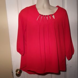 LUXE Usa  Red High Low  Sheer Top Sz L